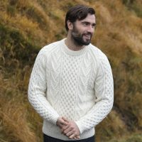 Hand knitted Crew Neck Aran Sweater