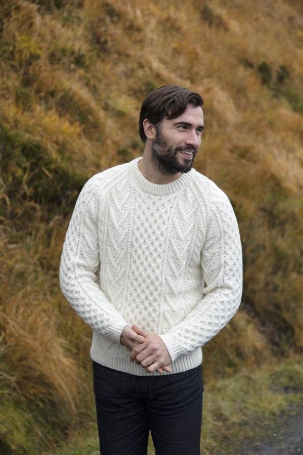 Hand knitted Crew Neck Aran Sweater