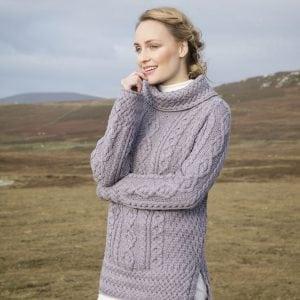 Aran Cowl Neck Tunic Sweater