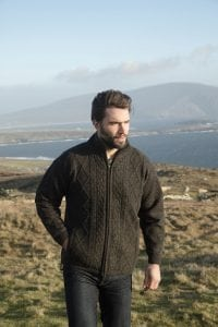 Mens Lined Aran Zip Cardigan
