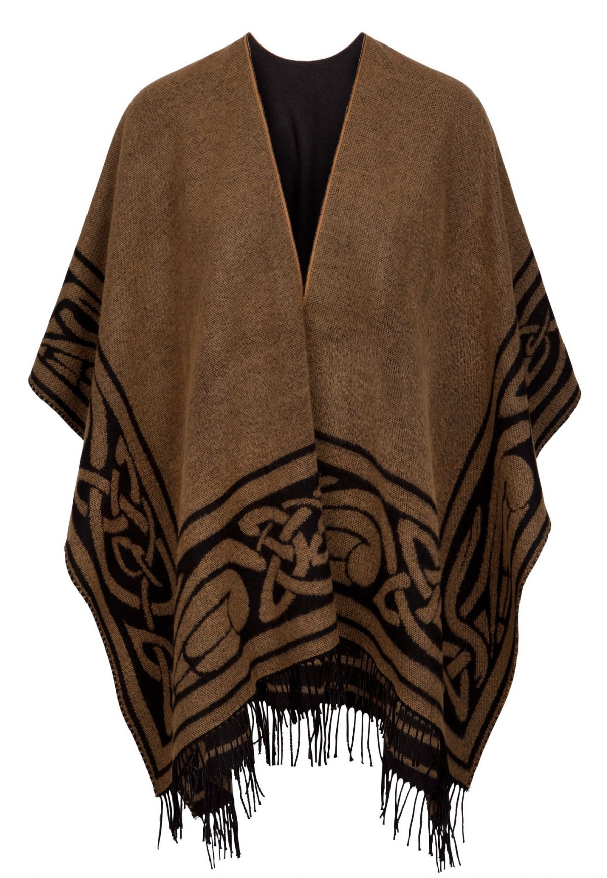 Black & Camel Celtic Design Shawl with Tassels