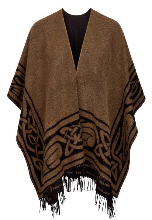 Black & Camel Celtic Design Shawl with Tassels