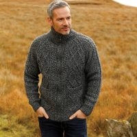 Handknitted Mens Aran Sweater with Zip