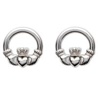Silver Claddagh Stud Earrings
