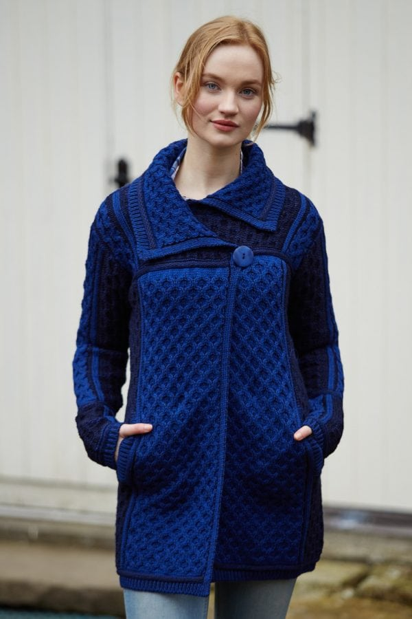Single Button Plated Coat Navy
