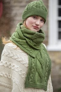 Aran Knitted Cable Hat and Scarf Green