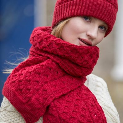 Cherry Red Aran Scarf