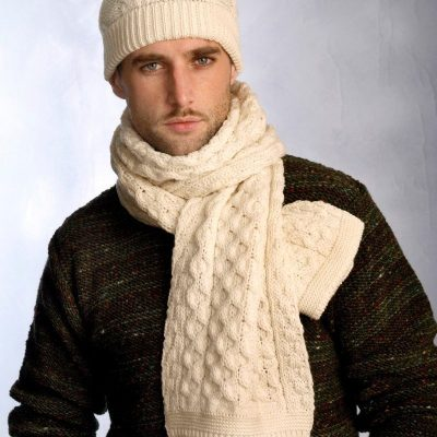 Traditional Aran Knitted Scarf & Hat