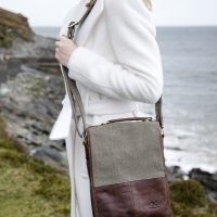 Irish Tweed & Leather Bag with Handle