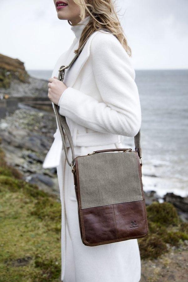 Irish Tweed & Leather Bag with Handle