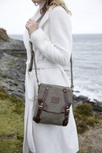 Irish Tweed & Leather Double Buckle Bag