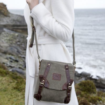 Irish Tweed & Leather Double Buckle Bag