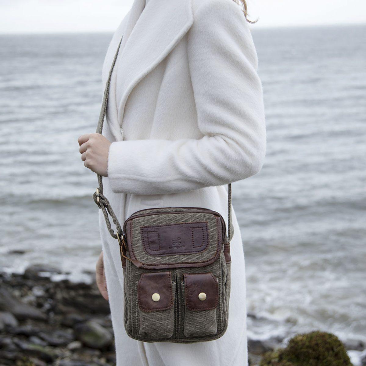 Irish Tweed & Leather Double Pocket Bag