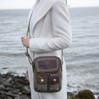Irish Tweed & Leather Double Pocket Bag
