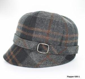 Grey & Black Tartan Flapper Hat