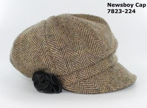 Tan Herringbone Newsboy Cap