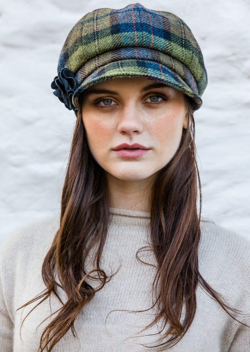 Blue & Green Tartan Newsboy Hat