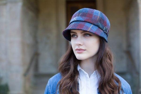 Blue & Red Tartan Flapper Hat