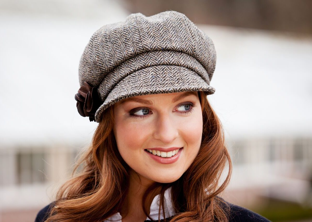 Brown Herringbone Newsboy Hat