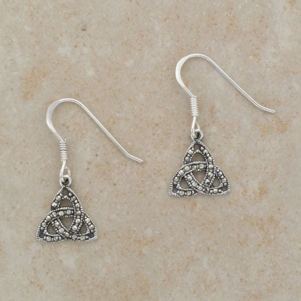 Celtic Trinity Earrings (w/ Marcasite)