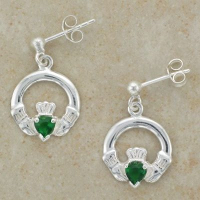 Celtic Claddagh Drop Studs