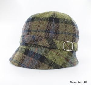 Green & Blue Tartan Flapper Hat