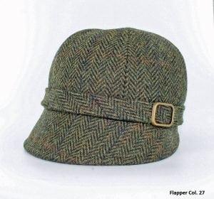 Moss Green Herringbone Flapper Hat