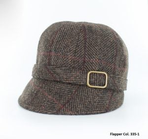 Dark Brown Herringbone Flapper Hat