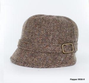 Brown Herringbone Flapper Hat