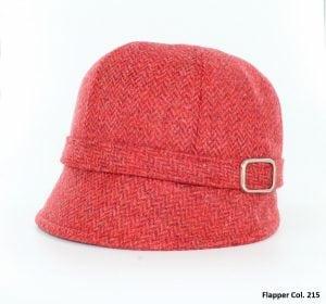 Scarlet Herringbone Flapper Hat