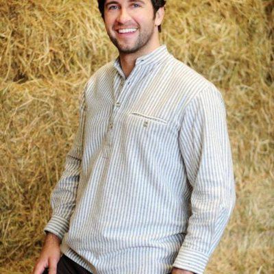 Striped Flannel Irish Collarless Grandfather Shirt