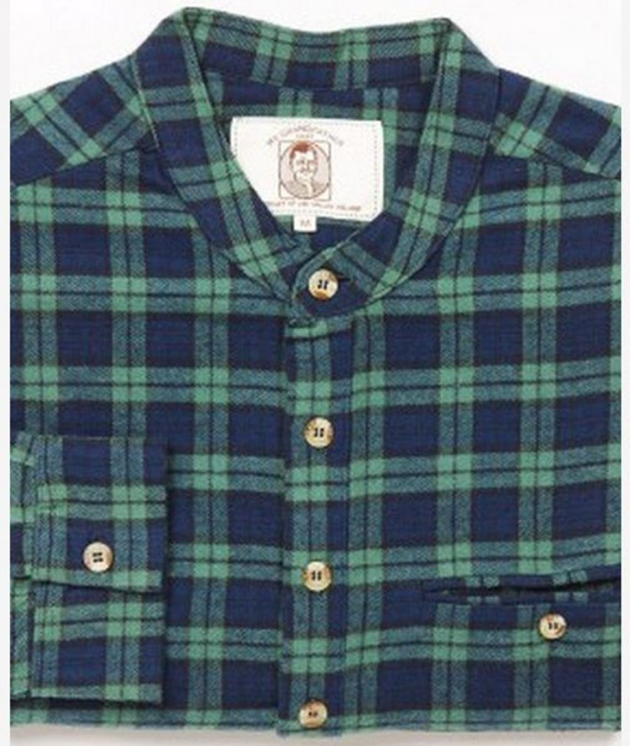 Tartan Flannel Irish Collarless Grandfather Shirt