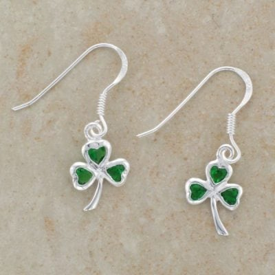 Emerald Shamrock Earrings