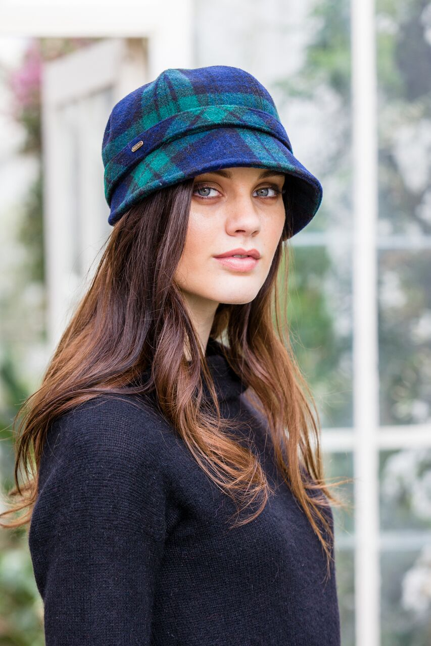 Flapper Hat Blue & Green Tartan