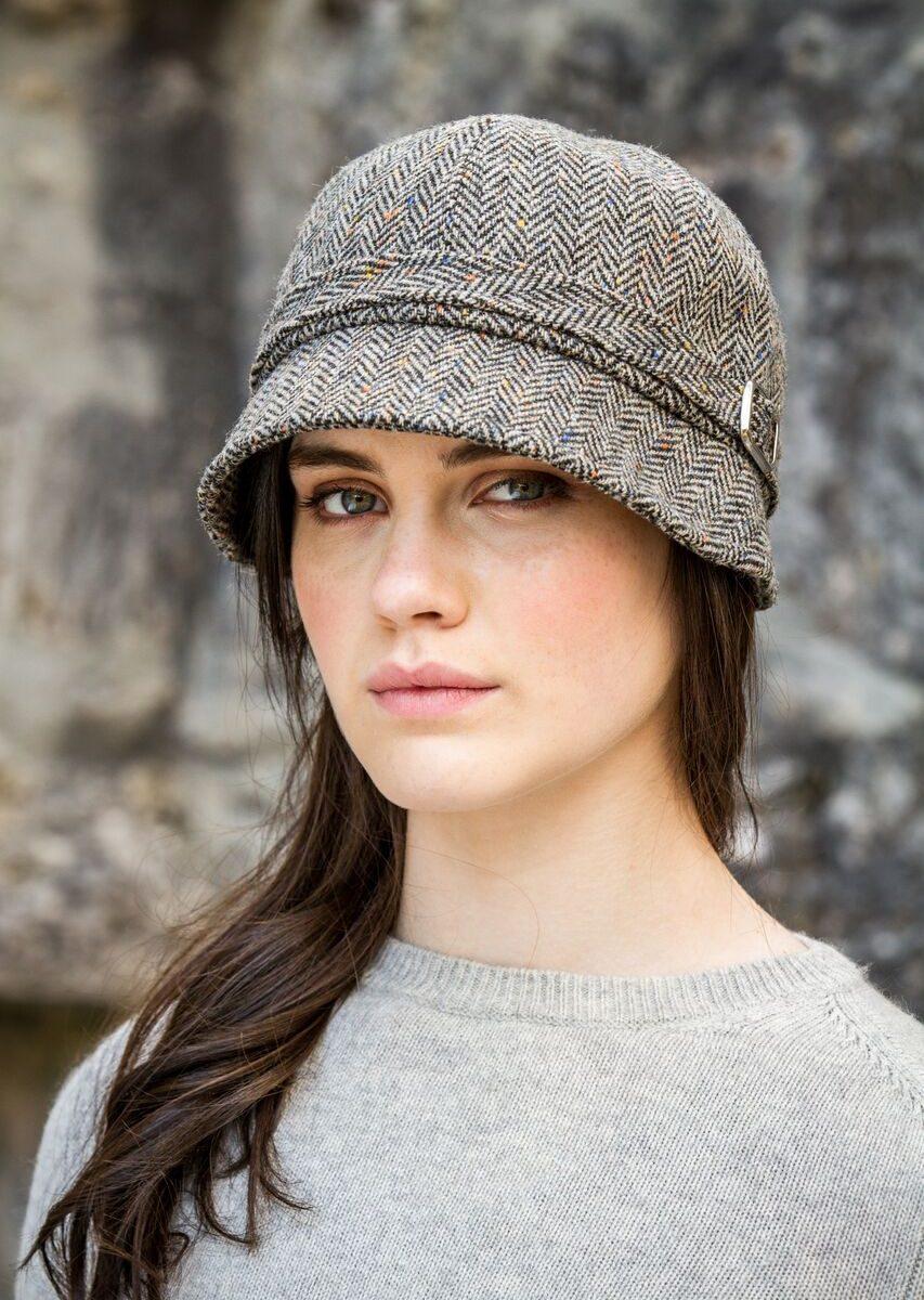 Flapper Hat Brown Herringbone