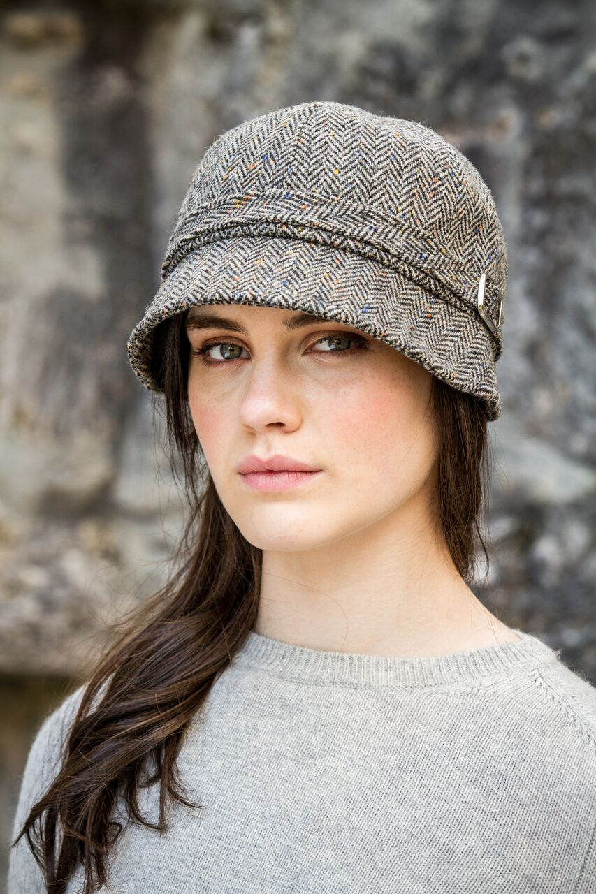 Flapper Hat Brown Herringbone