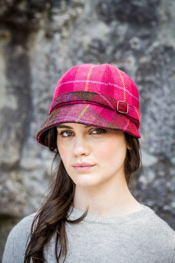 Flapper Hat Pink & Red Tartan