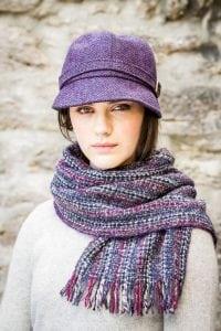 Flapper Hat Purple Herringbone