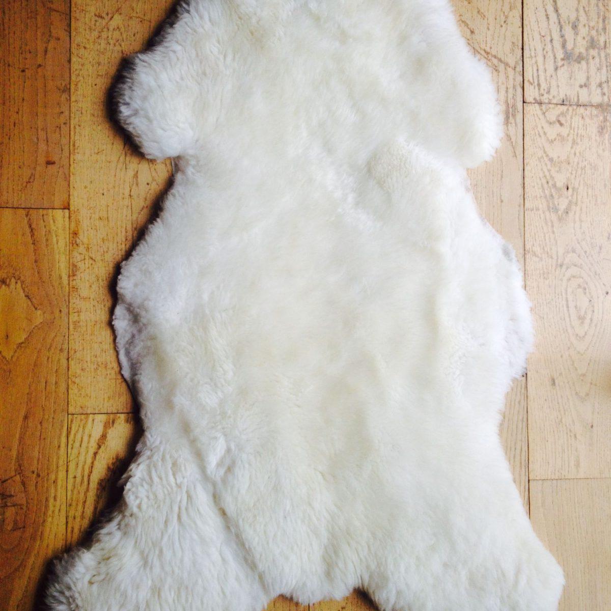 white irish sheepskin rug