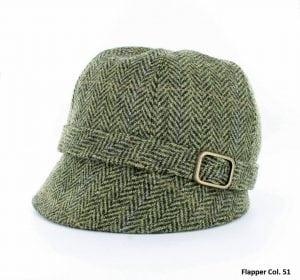 Green Herringbone Flapper Hat