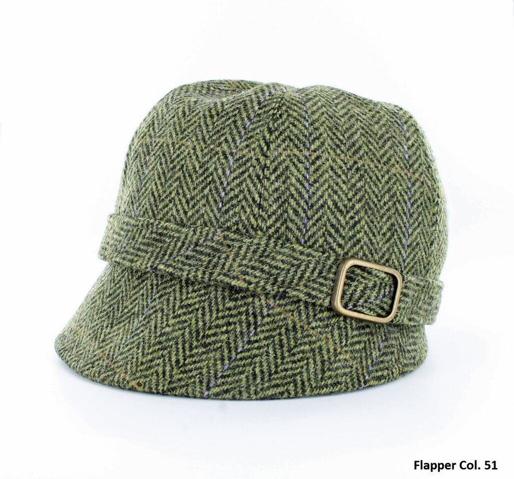 Green Herringbone Flapper Hat