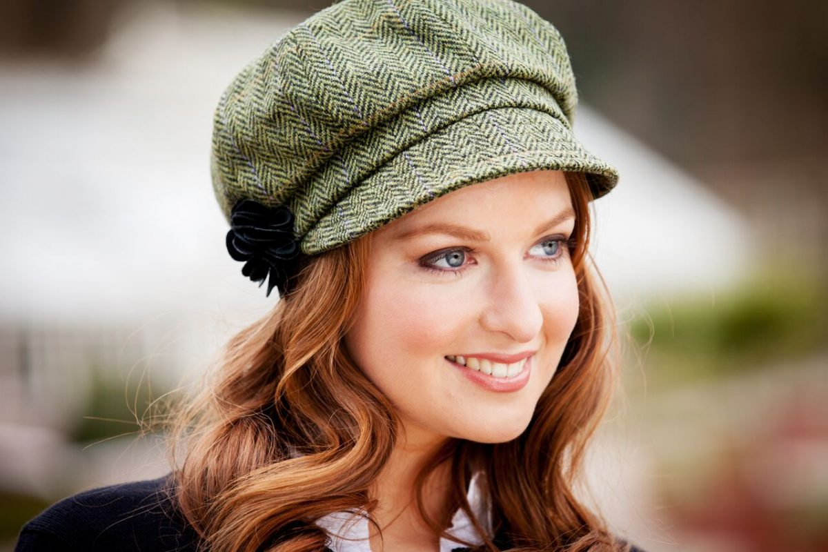 Green Herringbone Newsboy Hat