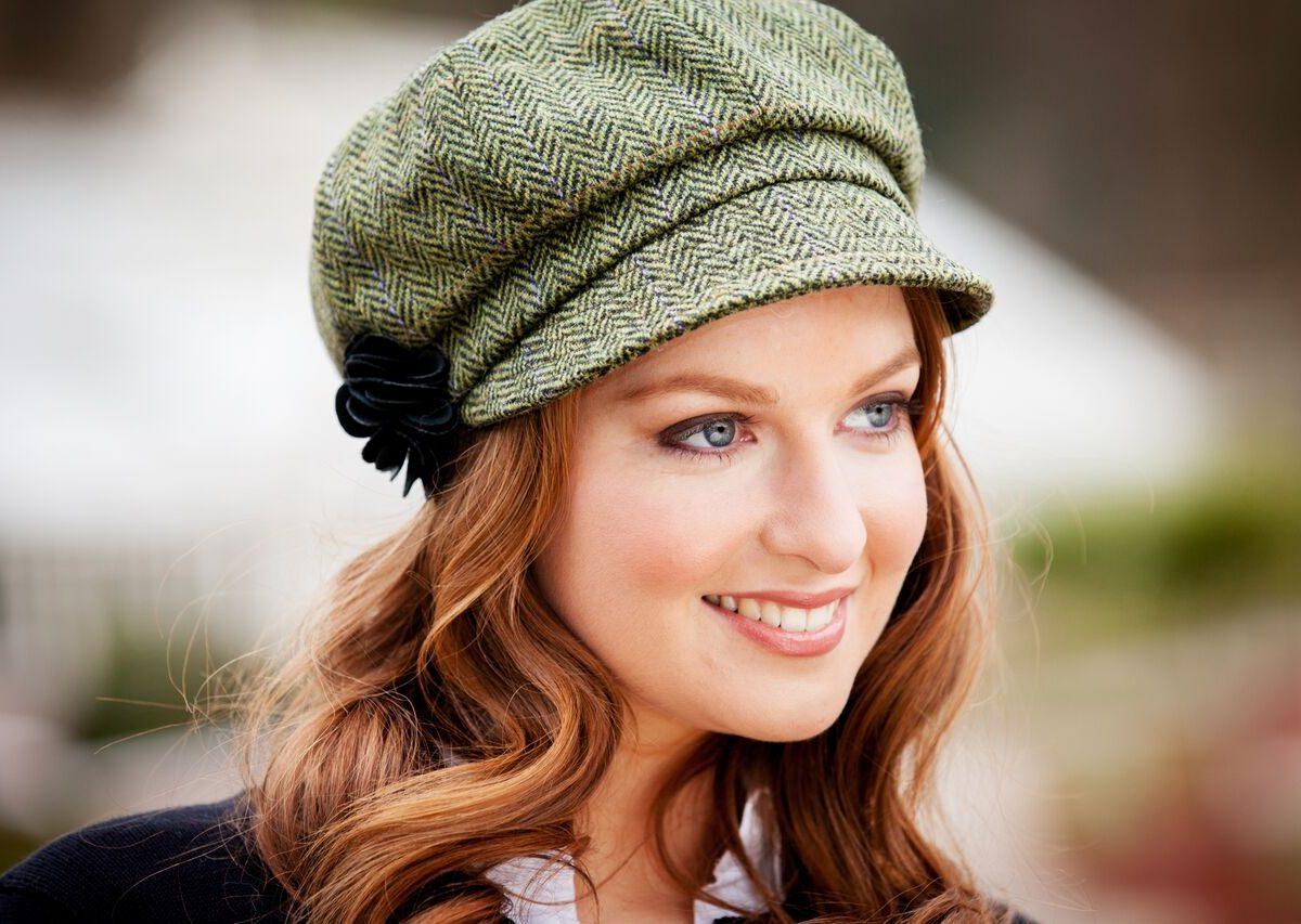 Green Herringbone Newsboy Hat