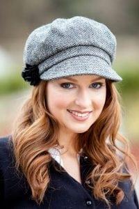 Grey Herringbone Newsboy Hat