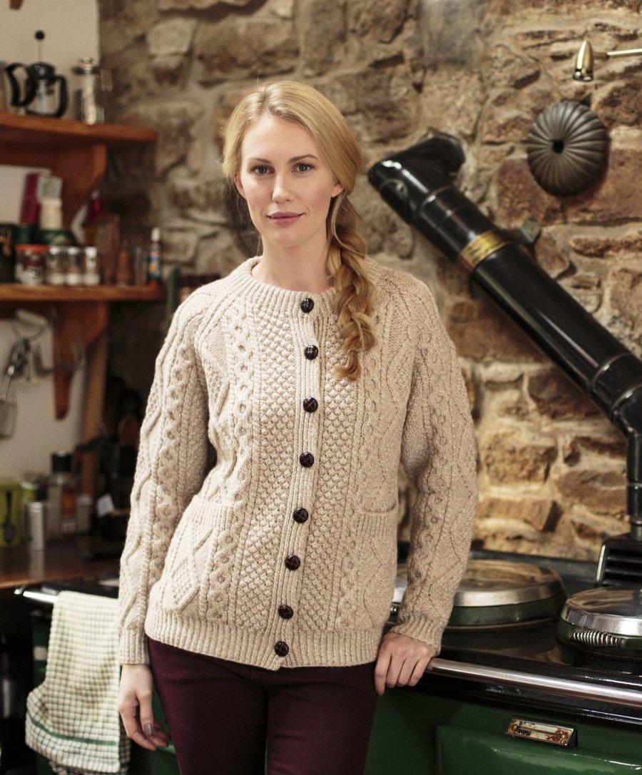 Handknit Ladies Aran Lumber Cardigan