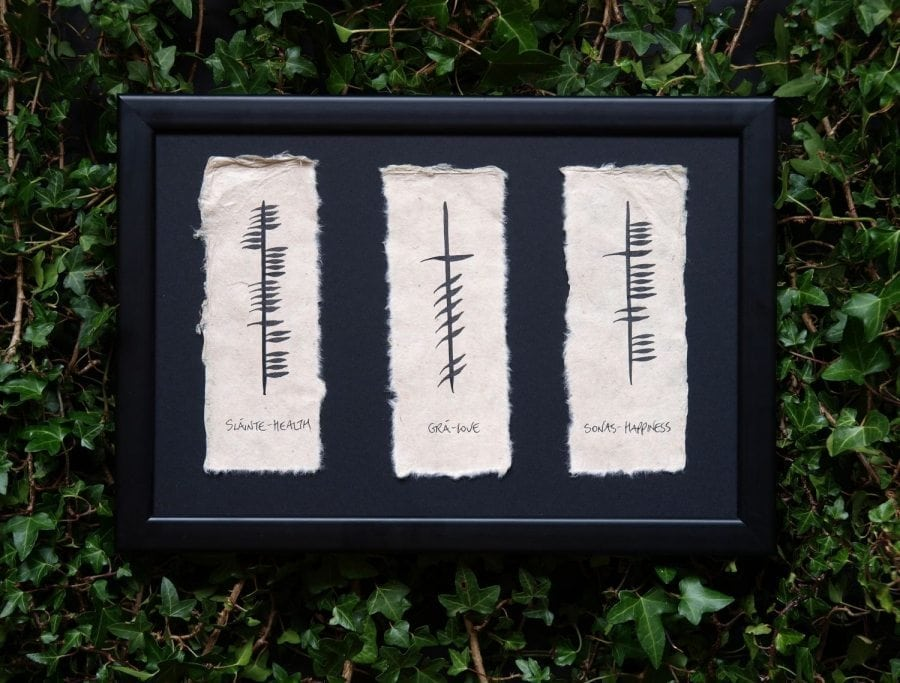 Health, Love & Happiness/ Sláinte, Grá & Sonas - Triple Ogham Blessing