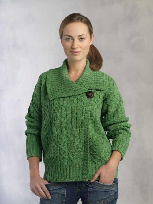 Ladies Button Cardigan with Large Collar
