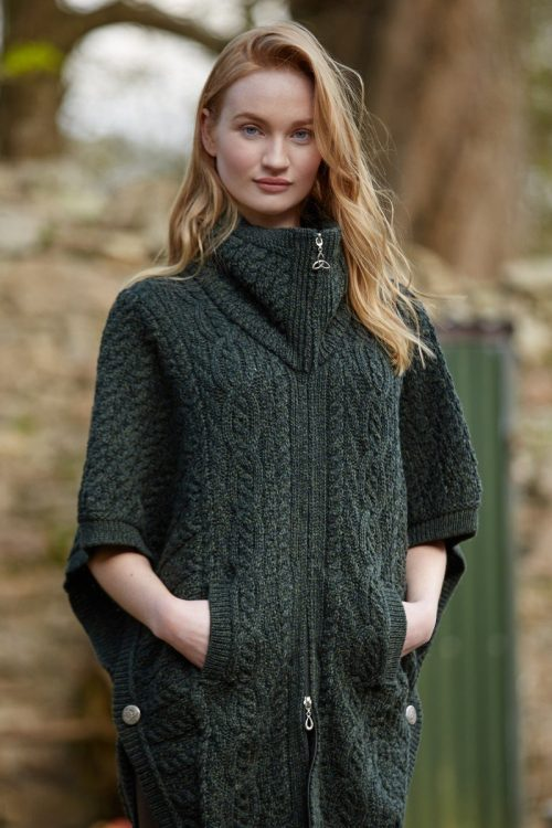 Aran Collared Poncho With Zip & Batwing Sleeves Army Green