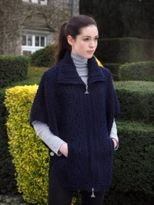 Aran Collared Poncho With Zip & Batwing Sleeves Navy