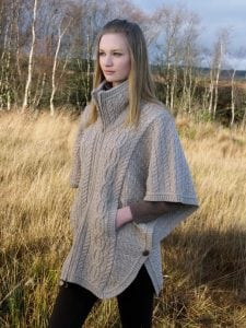 Aran Collared Poncho With Zip & Batwing Sleeves Parsnip
